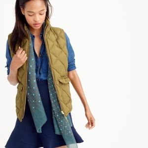 J Crew green goose down quilted vest sm-CG0049